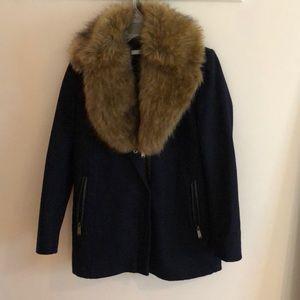 DKNY faux fur collared coat